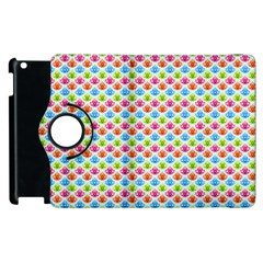 Colorful Floral Seamless Red Blue Green Pink Apple iPad 3/4 Flip 360 Case