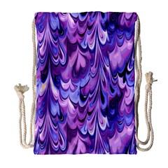 Purple Marble  Drawstring Bag (Large)