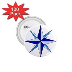 Compass Blue Star 1.75  Buttons (100 pack)