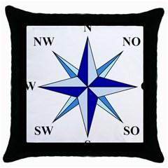 Compass Blue Star Throw Pillow Case (black)