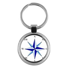 Compass Blue Star Key Chains (Round)