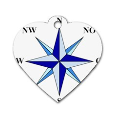 Compass Blue Star Dog Tag Heart (Two Sides)