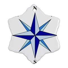 Compass Blue Star Snowflake Ornament (Two Sides)