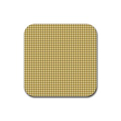 Golden Yellow Tablecloth Plaid Line Rubber Square Coaster (4 pack)