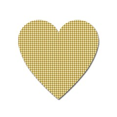 Golden Yellow Tablecloth Plaid Line Heart Magnet