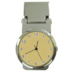 Golden Yellow Tablecloth Plaid Line Money Clip Watches