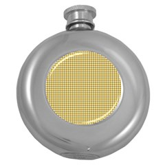 Golden Yellow Tablecloth Plaid Line Round Hip Flask (5 Oz)