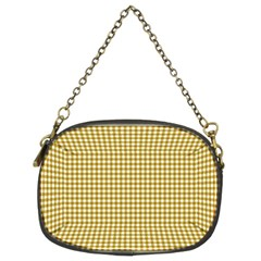 Golden Yellow Tablecloth Plaid Line Chain Purses (Two Sides)