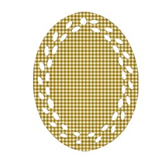 Golden Yellow Tablecloth Plaid Line Ornament (Oval Filigree)