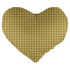 Golden Yellow Tablecloth Plaid Line Large 19  Premium Heart Shape Cushions