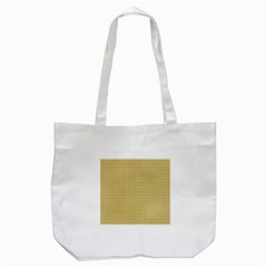 Golden Yellow Tablecloth Plaid Line Tote Bag (White)