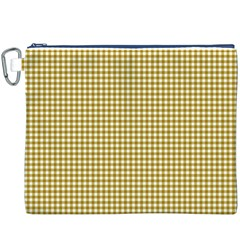 Golden Yellow Tablecloth Plaid Line Canvas Cosmetic Bag (XXXL)