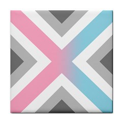 Flag X Blue Pink Grey White Chevron Tile Coasters