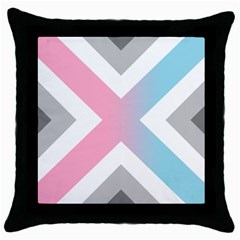 Flag X Blue Pink Grey White Chevron Throw Pillow Case (Black)