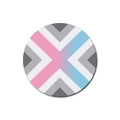 Flag X Blue Pink Grey White Chevron Rubber Coaster (round)