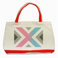 Flag X Blue Pink Grey White Chevron Classic Tote Bag (Red)
