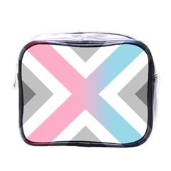 Flag X Blue Pink Grey White Chevron Mini Toiletries Bags