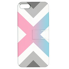 Flag X Blue Pink Grey White Chevron Apple iPhone 5 Hardshell Case with Stand