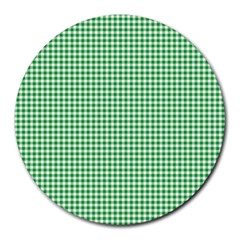 Green Tablecloth Plaid Line Round Mousepads