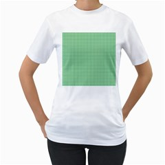 Green Tablecloth Plaid Line Women s T Shirt (white) (two Sided)