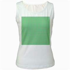 Green Tablecloth Plaid Line Women s White Tank Top