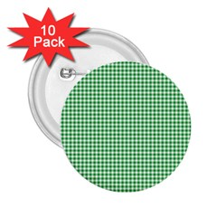 Green Tablecloth Plaid Line 2 25  Buttons (10 Pack)