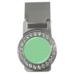 Green Tablecloth Plaid Line Money Clips (cz)