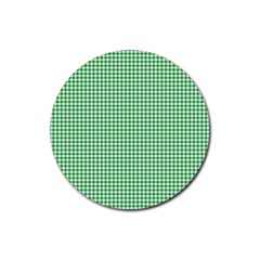 Green Tablecloth Plaid Line Rubber Round Coaster (4 Pack)
