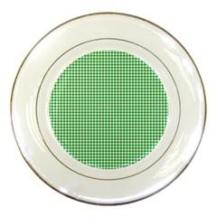Green Tablecloth Plaid Line Porcelain Plates