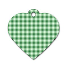 Green Tablecloth Plaid Line Dog Tag Heart (two Sides)