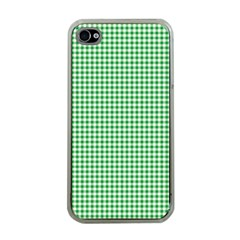 Green Tablecloth Plaid Line Apple iPhone 4 Case (Clear)