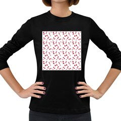 Hour Glass Pattern Red White Triangle Women s Long Sleeve Dark T Shirts