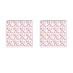 Hour Glass Pattern Red White Triangle Cufflinks (Square)