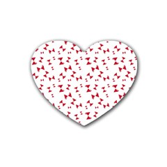 Hour Glass Pattern Red White Triangle Rubber Coaster (Heart)