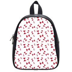 Hour Glass Pattern Red White Triangle School Bags (small)