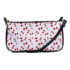 Hour Glass Pattern Red White Triangle Shoulder Clutch Bags