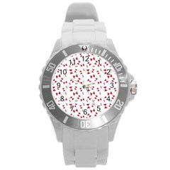 Hour Glass Pattern Red White Triangle Round Plastic Sport Watch (l)