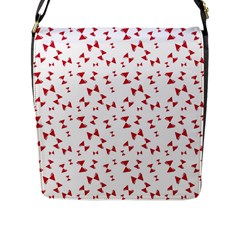 Hour Glass Pattern Red White Triangle Flap Messenger Bag (L)