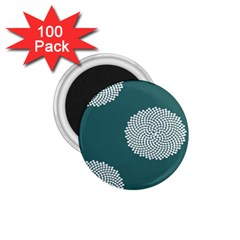 Green Circle Floral Flower Blue White 1 75  Magnets (100 Pack)