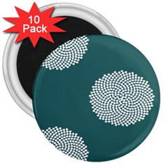Green Circle Floral Flower Blue White 3  Magnets (10 pack)