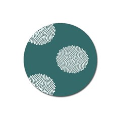 Green Circle Floral Flower Blue White Magnet 3  (Round)
