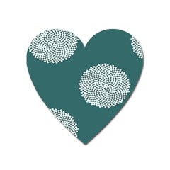 Green Circle Floral Flower Blue White Heart Magnet