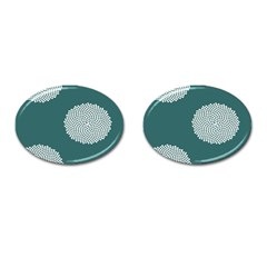 Green Circle Floral Flower Blue White Cufflinks (oval)