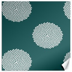 Green Circle Floral Flower Blue White Canvas 20  X 20