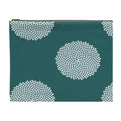 Green Circle Floral Flower Blue White Cosmetic Bag (xl)