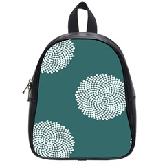 Green Circle Floral Flower Blue White School Bags (small)