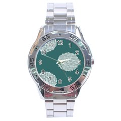 Green Circle Floral Flower Blue White Stainless Steel Analogue Watch
