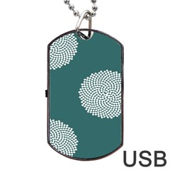 Green Circle Floral Flower Blue White Dog Tag USB Flash (Two Sides)