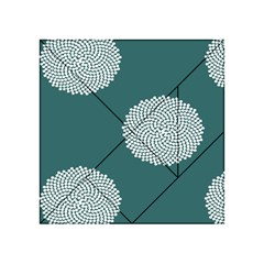 Green Circle Floral Flower Blue White Acrylic Tangram Puzzle (4  x 4 )