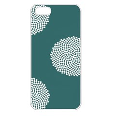 Green Circle Floral Flower Blue White Apple iPhone 5 Seamless Case (White)